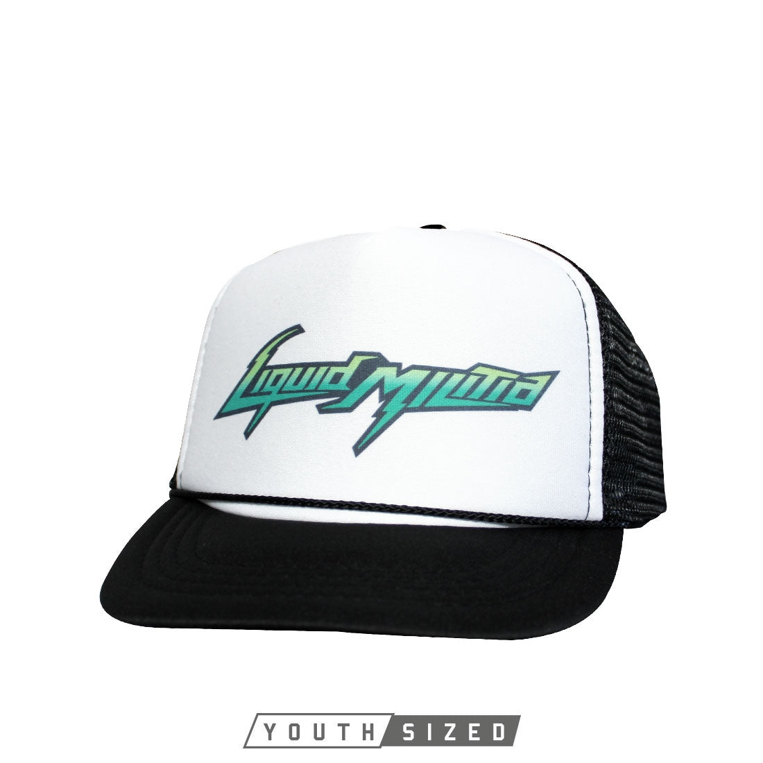 Energy Youth Curved Bill Trucker Hat in Black White Black - Front View