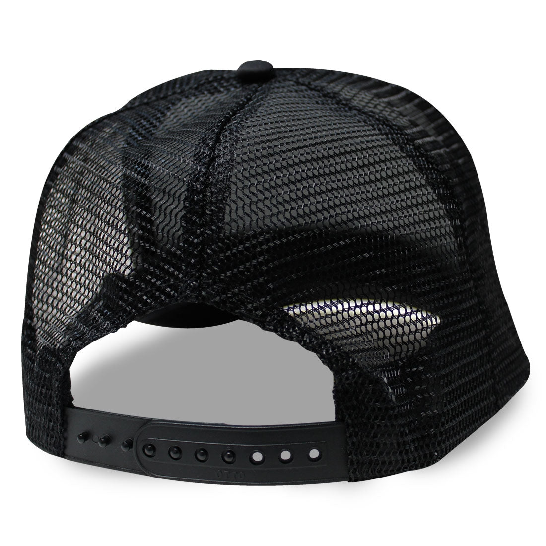 Pond Curved Bill Trucker Hat Black White Black Back View