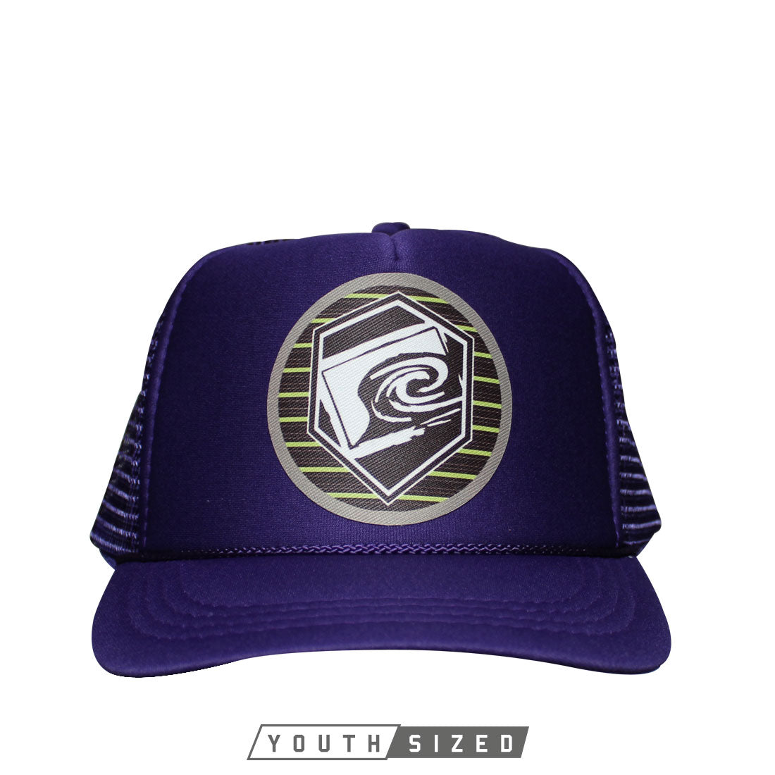 Horizon Youth Curved Bill Trucker Hat in Purple - Front