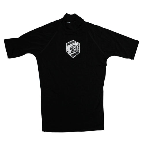 Distant Short Sleeve Rashguard in Black - Front View