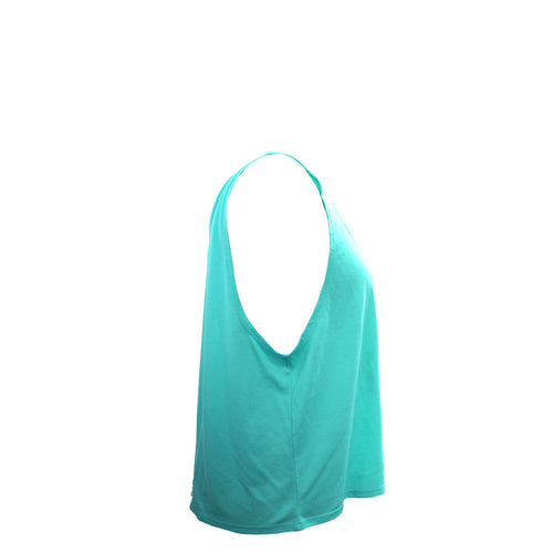 Drape Girls Flowing Tank In Teal - Side View