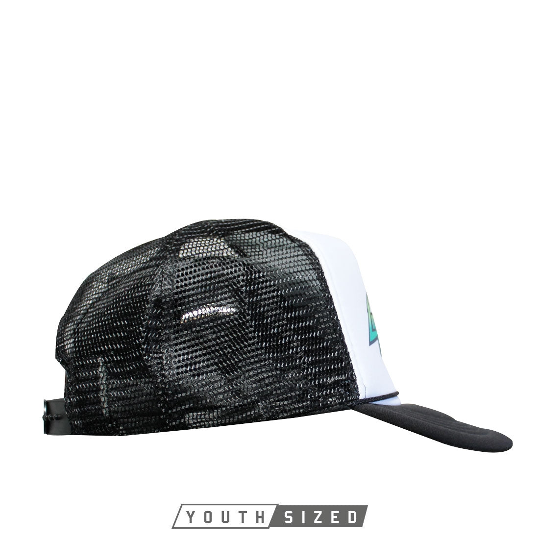 Energy Youth Curved Bill Trucker Hat in Black White Black - Side View
