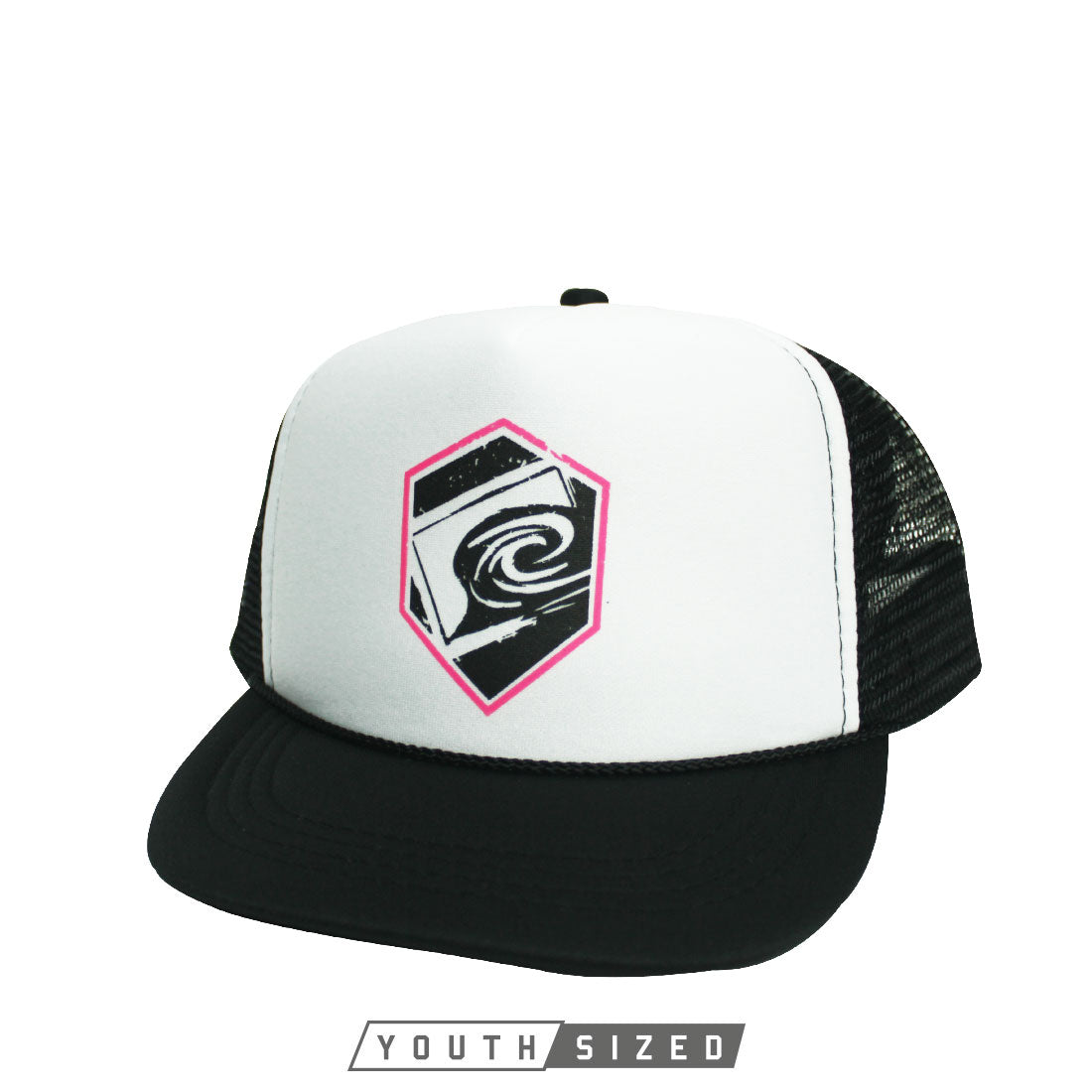 Valid Youth Curved Bill Trucker Hat in White Black