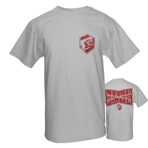 League Mens Standard Tee in Silver - Front/Back