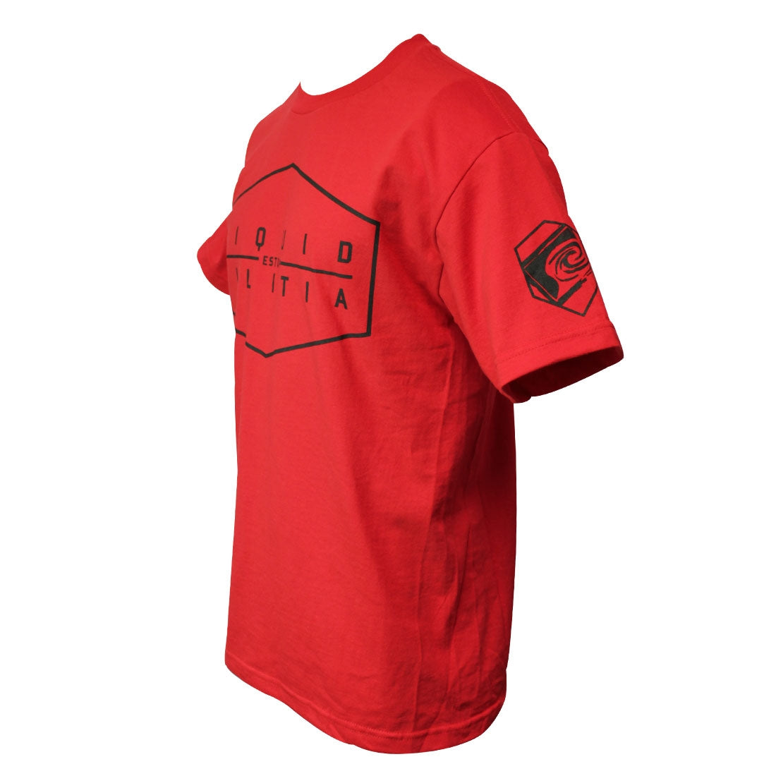 Proof mens standard tee in Red 3/4 view