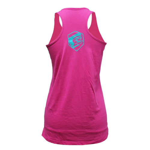 Hex Girls Racerback Tank in Pink - Back View