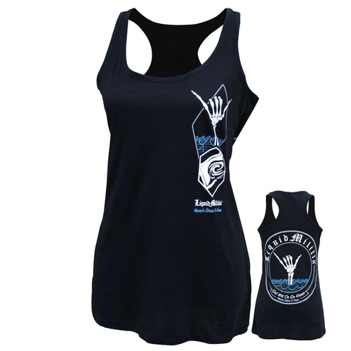 Shaka Girls Racerback Tank in Black - Front and Back