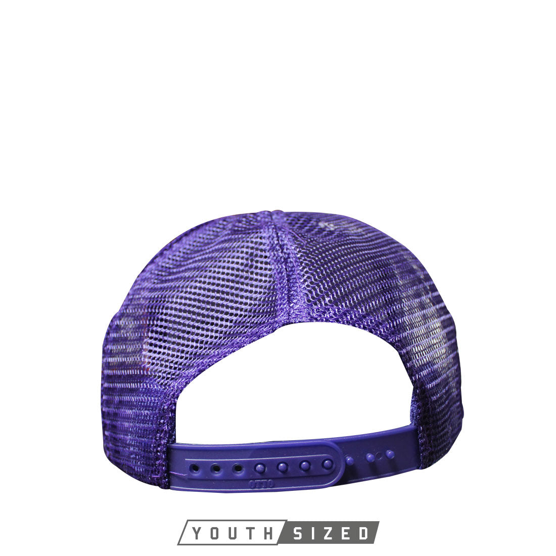 Horizon Youth Curved Bill Trucker Hat in Purple - Back Snap