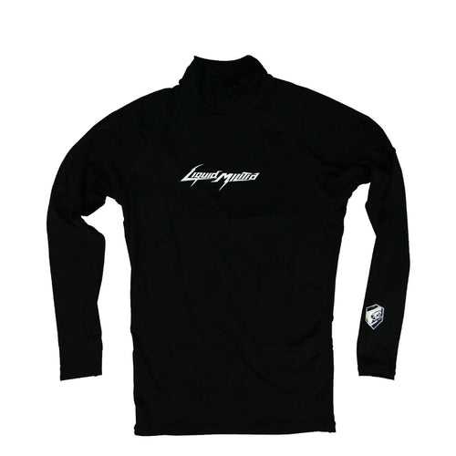 Deliver Mens Long Sleeve Rashguard in Black - Front