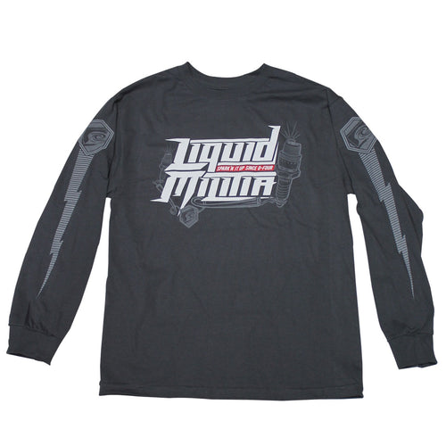 Burst Mens Long Sleeve Tee In Charcoal