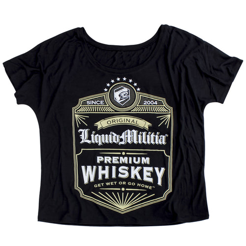 Whiskey Womens Slouchy Tee in Black