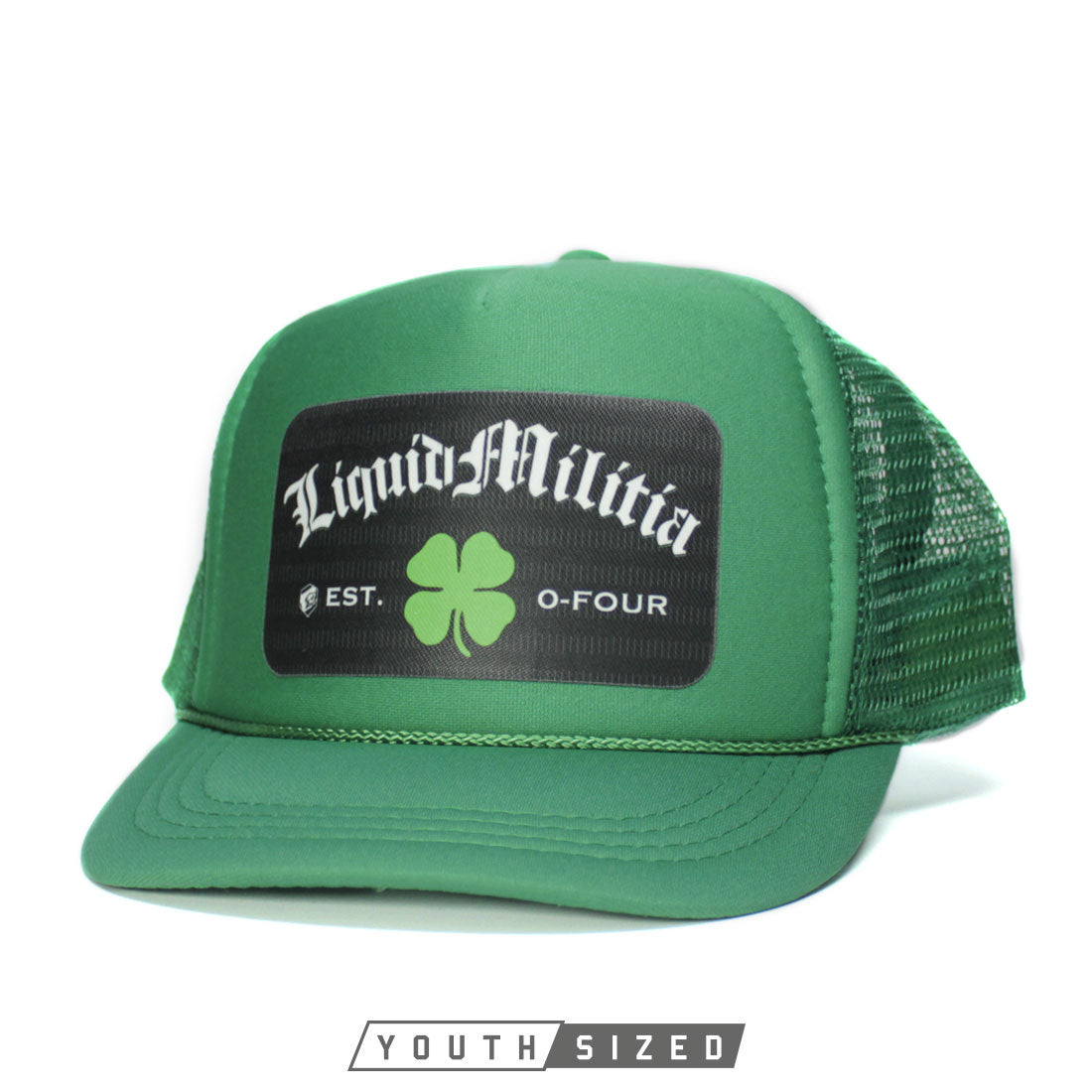 Pub Youth Curved Bill Trucker Hat in Kelly Green