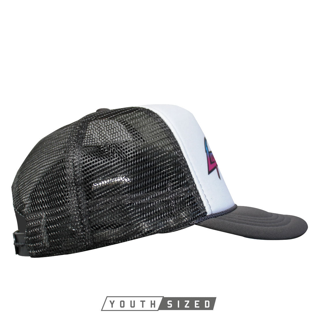 Energy Youth Curved Bill Trucker Hat In Grey White Grey - Side View