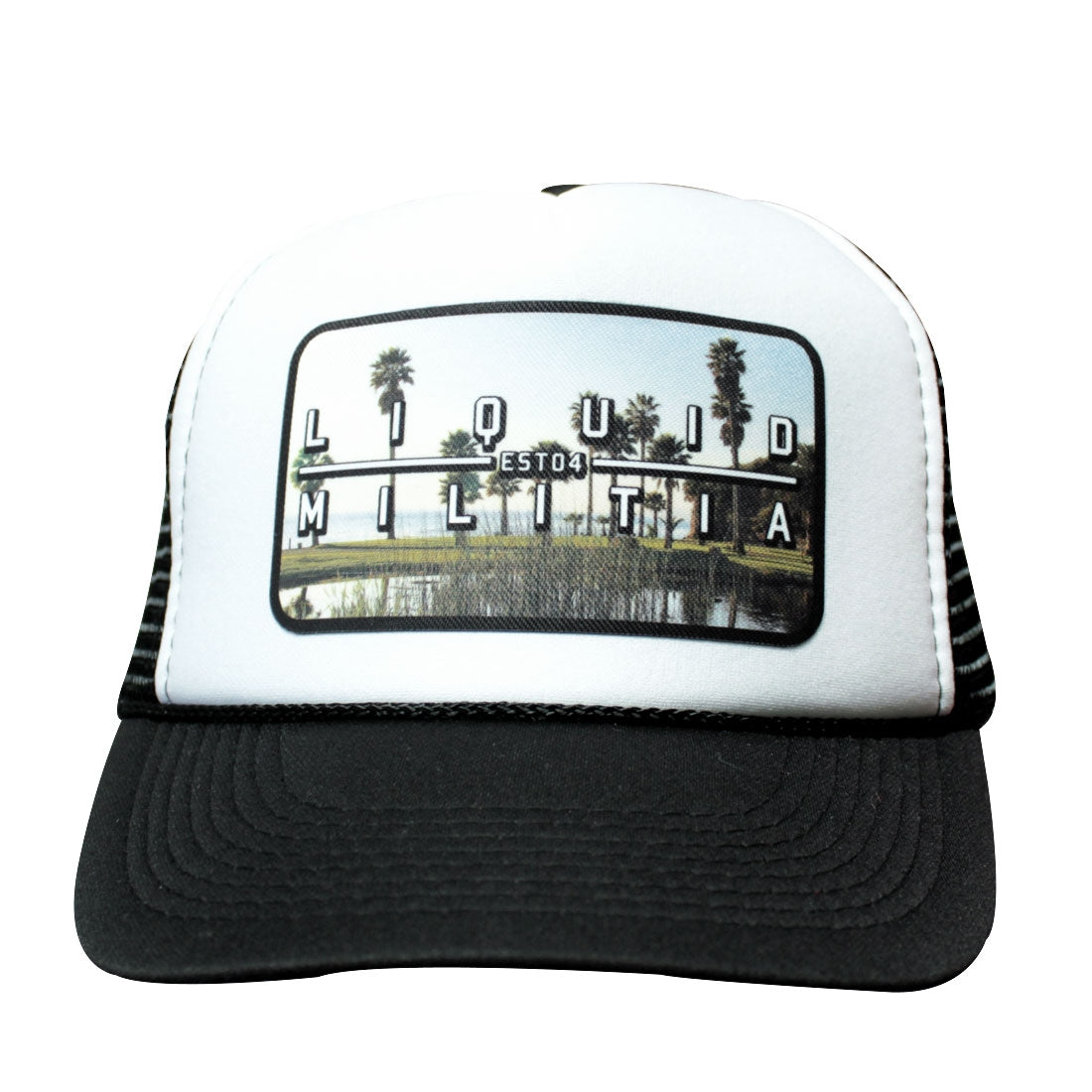 Pond Curved Bill Trucker Hat Black White Black
