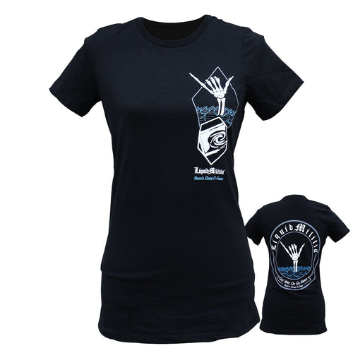 Shaka Girls Tee in Black - Front and Back