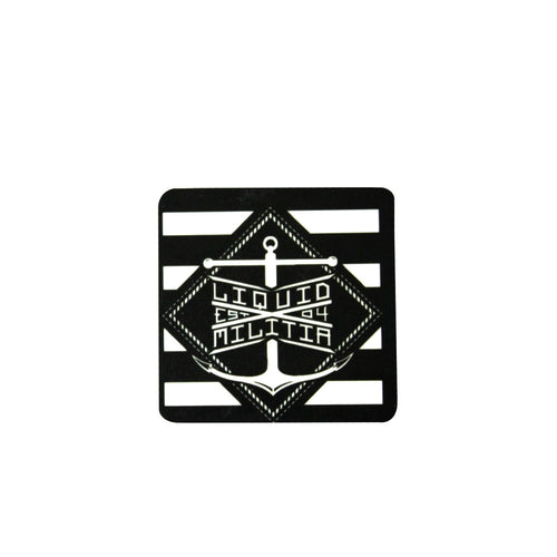 Liquid Militia Black and White square magnet with an anchor logo