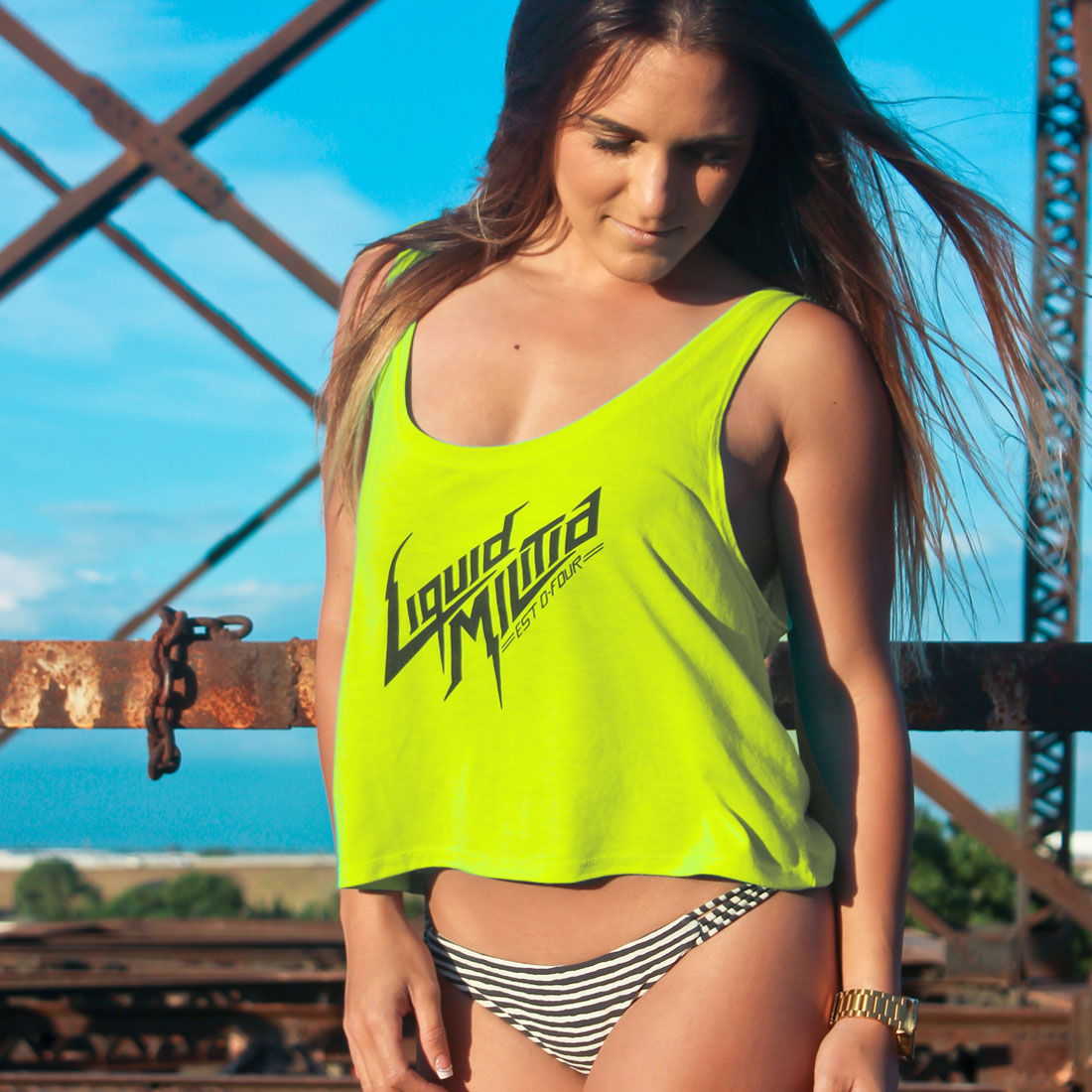 Drape Girls Flowing Tank In Neon Yellow - Model Wearing Size S