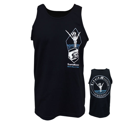 Shaka Sign Mens Tank in Black - Front and Back