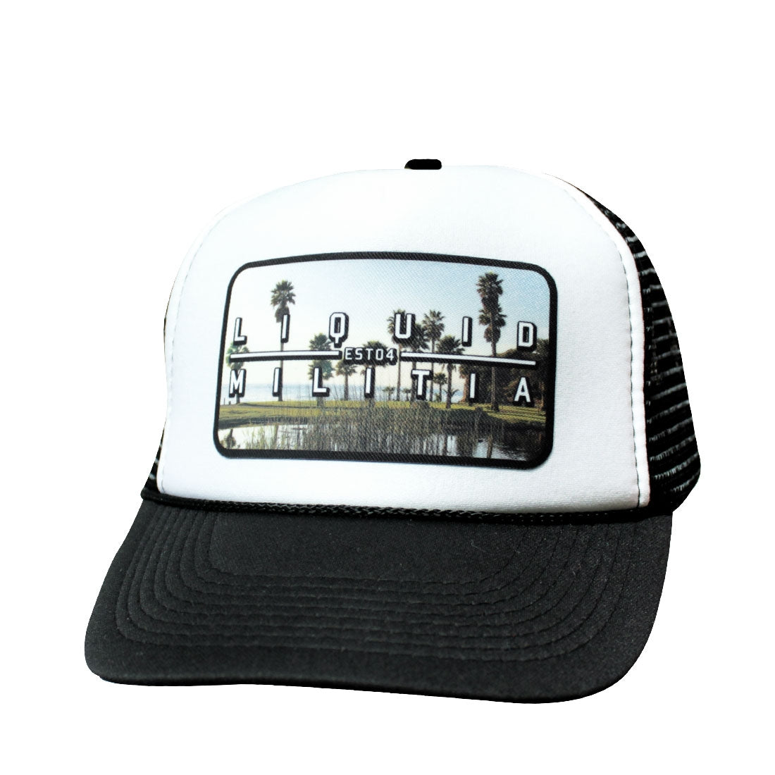 Pond Curved Bill Trucker Hat Black White Black Front