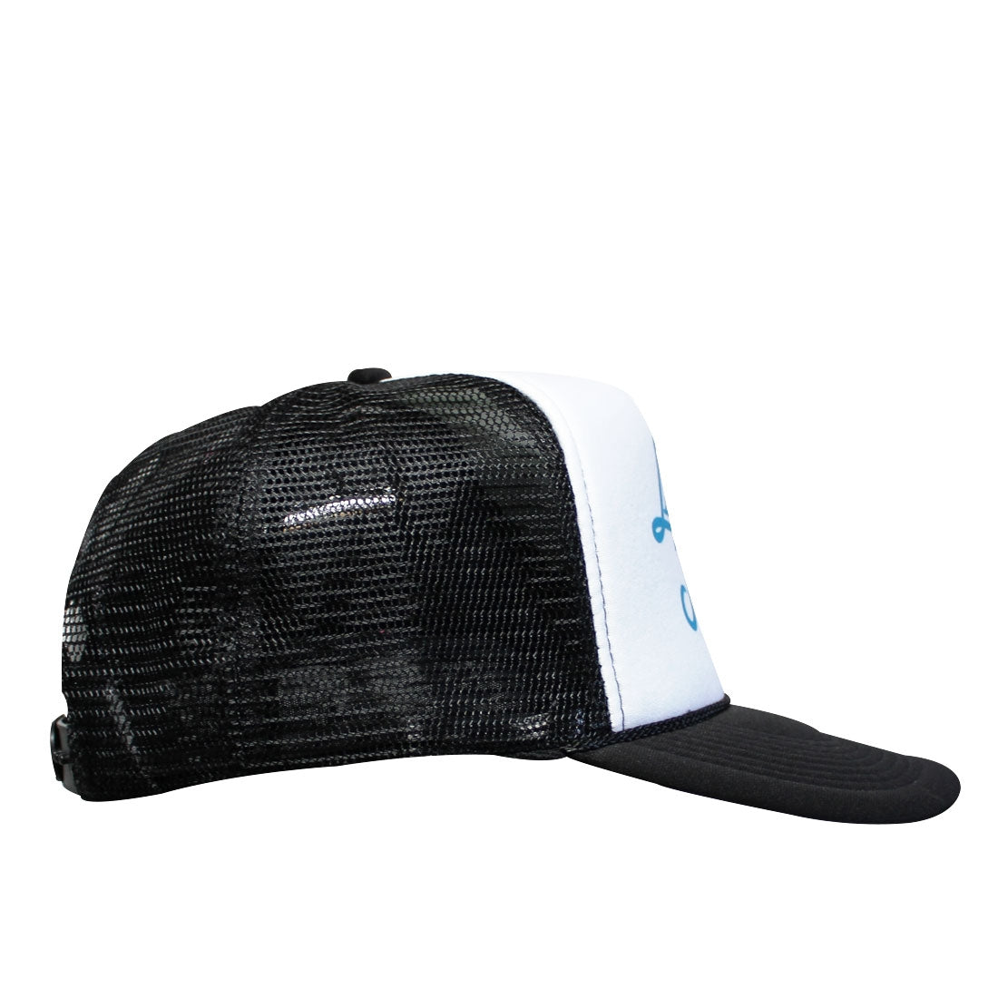 Fluid Curved Bill Trucker Hat in Black White Black - Side View