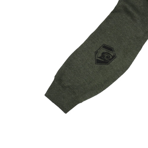 Liquid Militia Steady Mens Pullover Hoodie in Army Heather sleeve