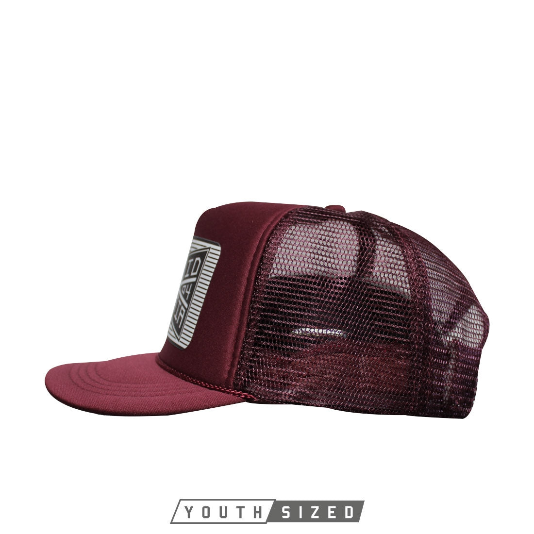 Bind Youth Curved Bill Trucker in Maroon - Side Snap View