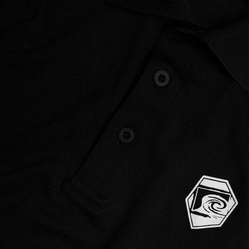 Collide Mens Polo in Black - Breathable Mesh Close-Up View