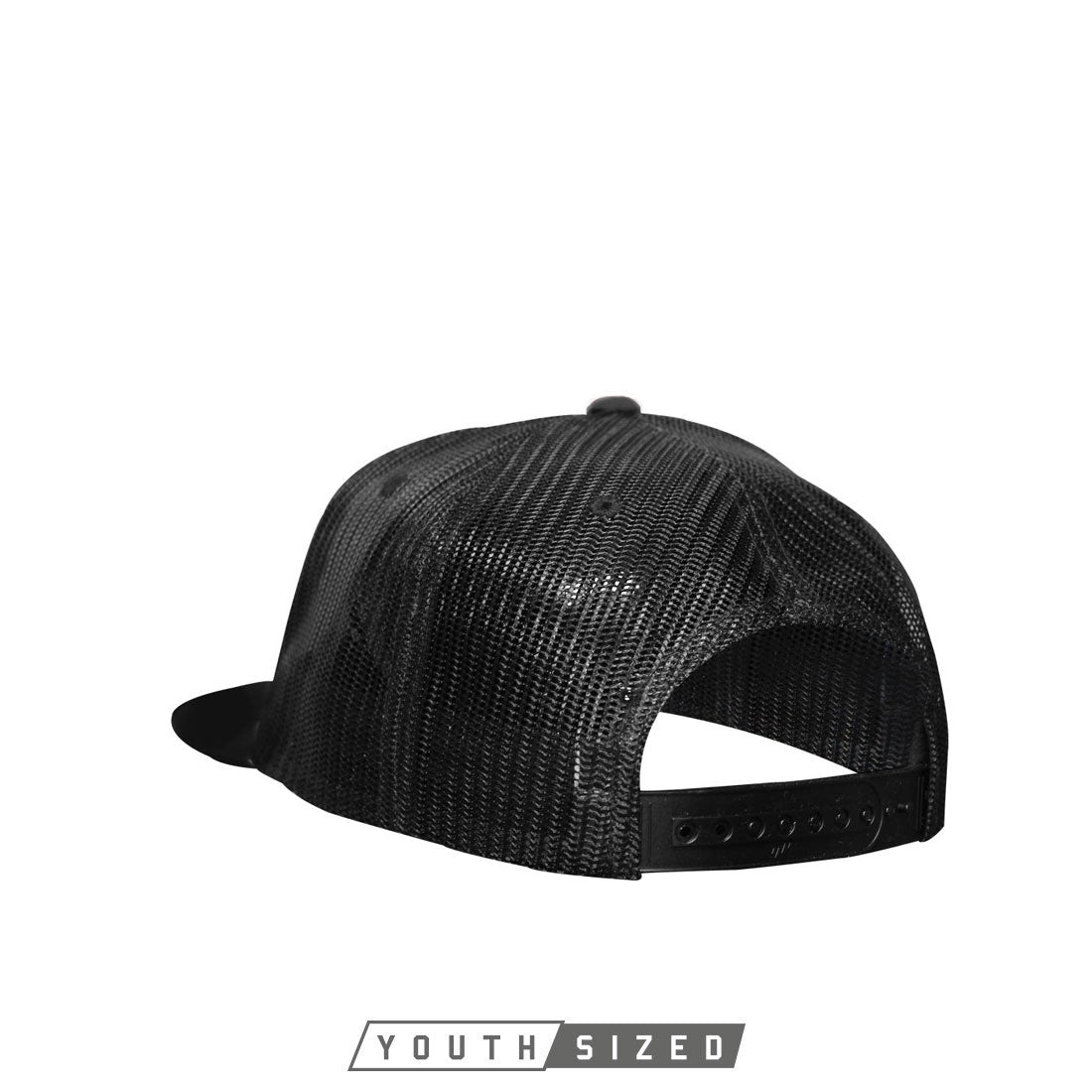 Energy Youth Curved Bill Trucker Hat in Black White Black - Front Snap View