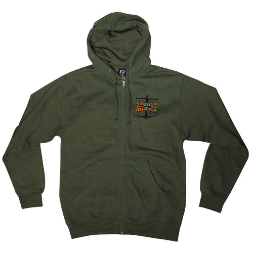 Guard Mens Zip Up Sweatshirt In Army Green Anchor logo