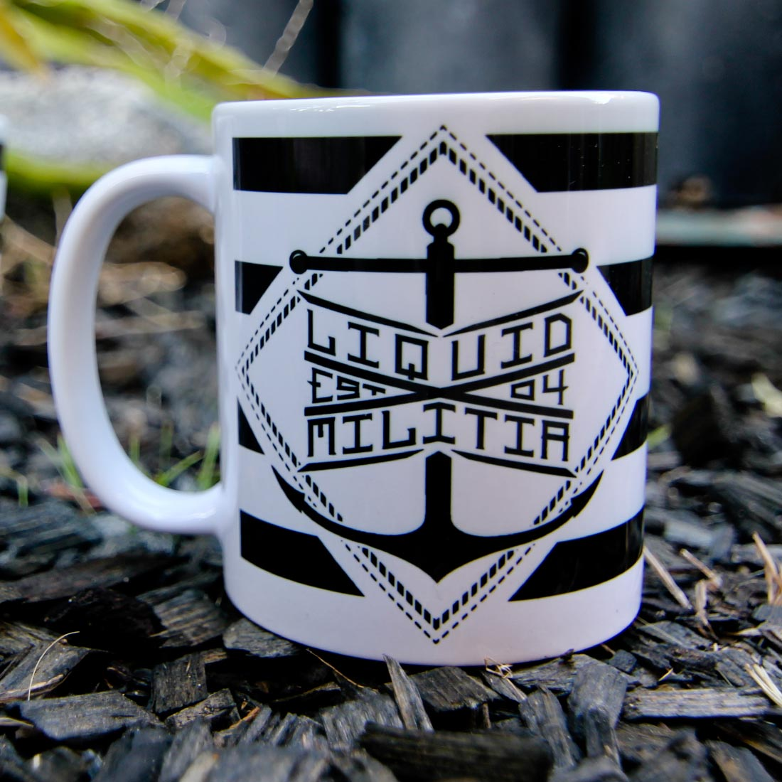Liquid Militia tea mug anchor logo