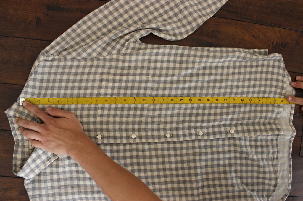 front length measurement to size shirt