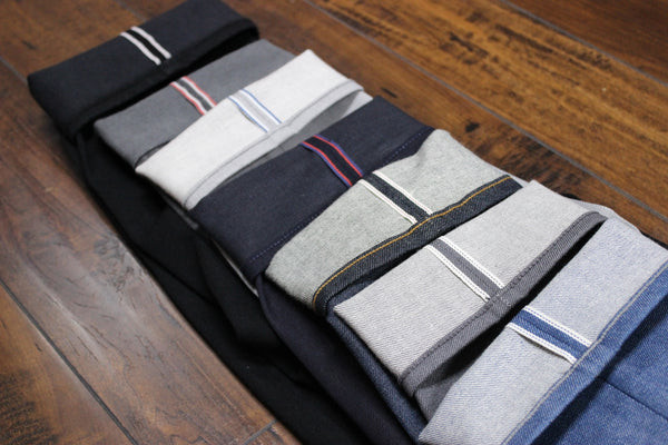 lineup of Kato selvedge id on cuffs