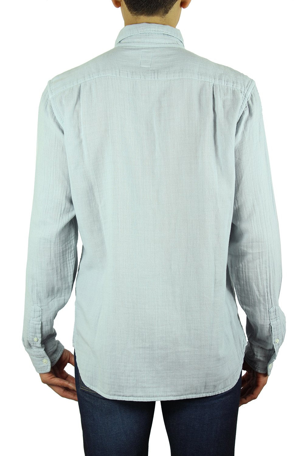 """THE RIPPER"" - GRAY BLUE VINTAGE DOUBLE GAUZE SLIM FRENCH SEAM L/S SHIRT"