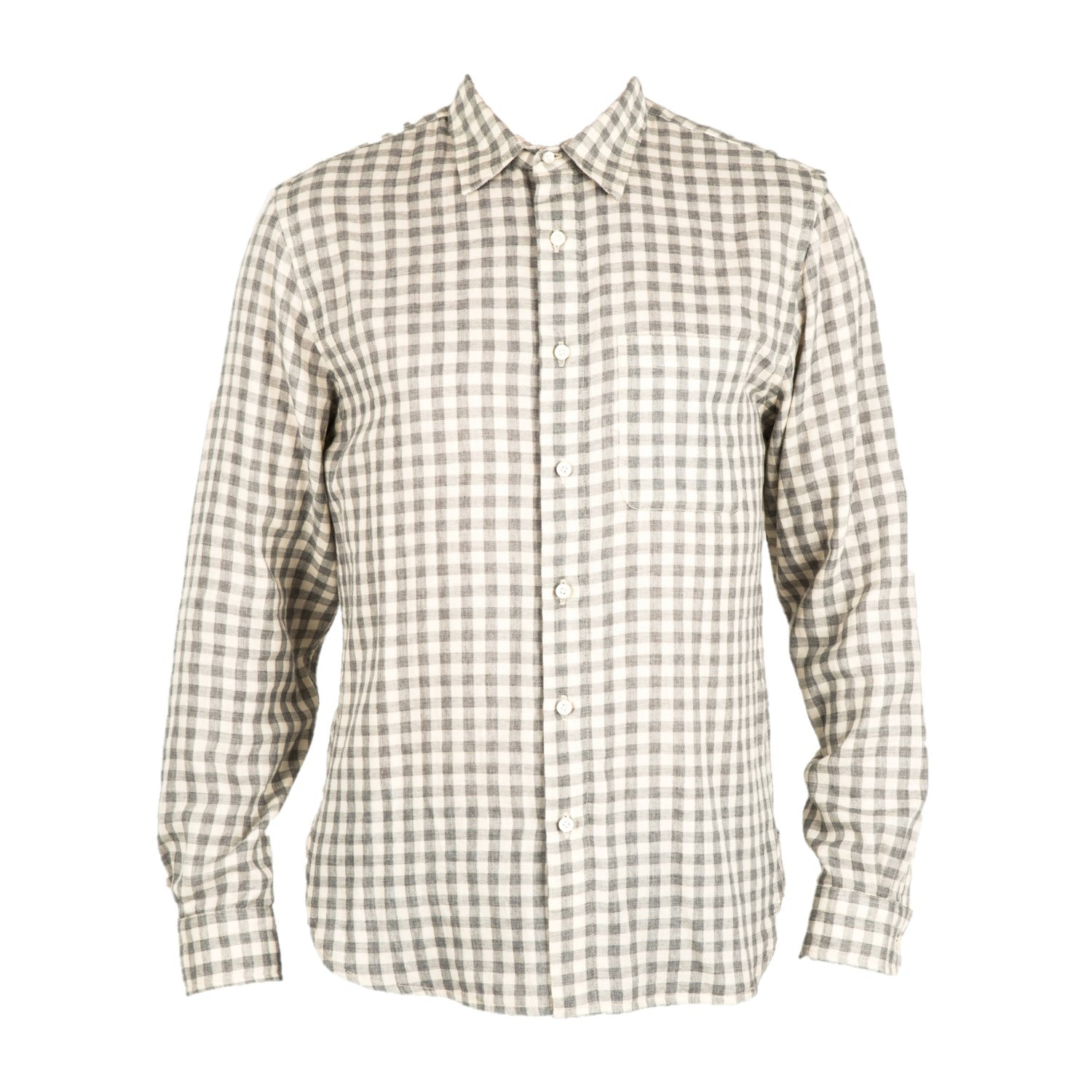 """The Ripper""- Light Grey Gingham Double Gauze L/S Shirt"