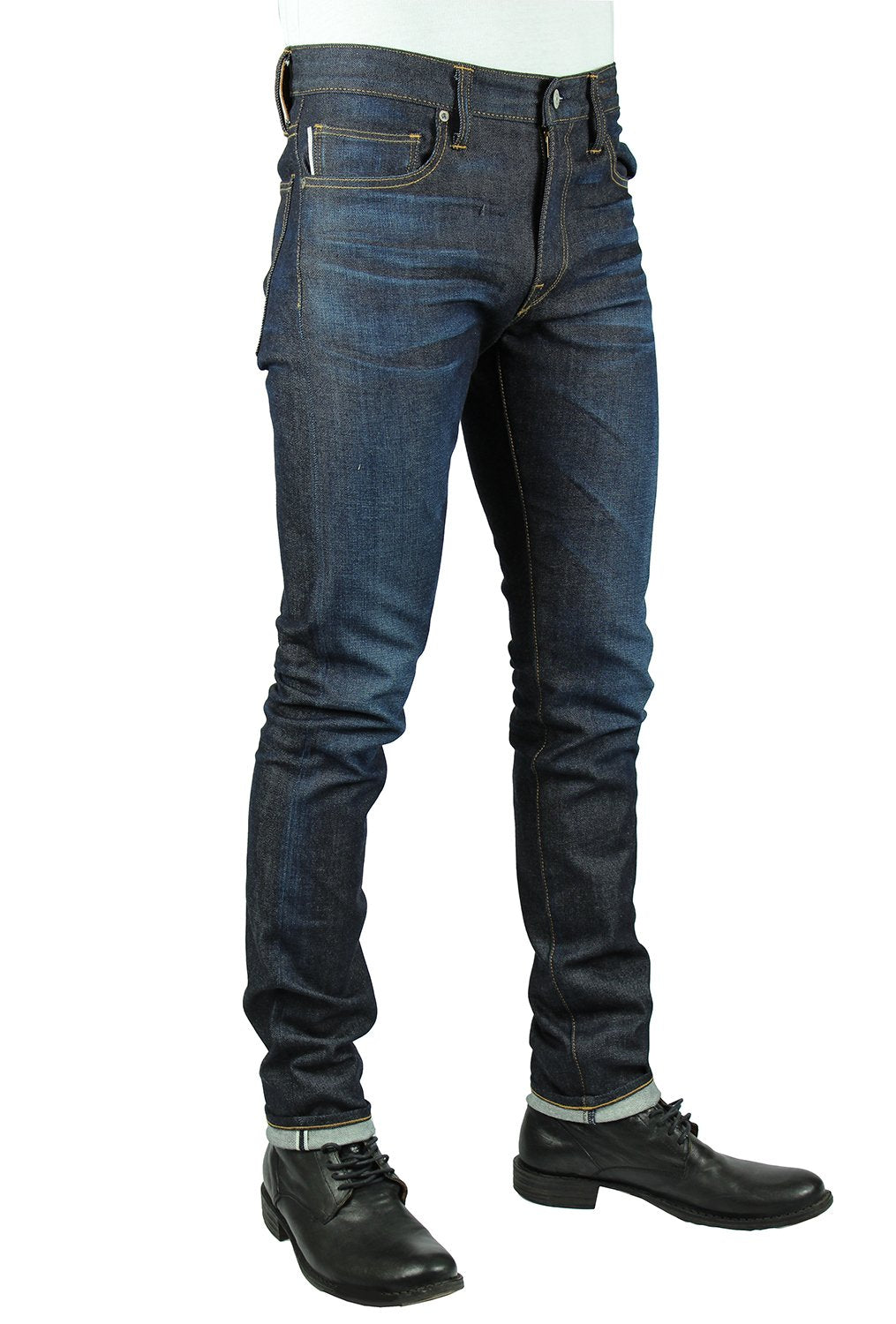 front model view in kato mens selvedge denim