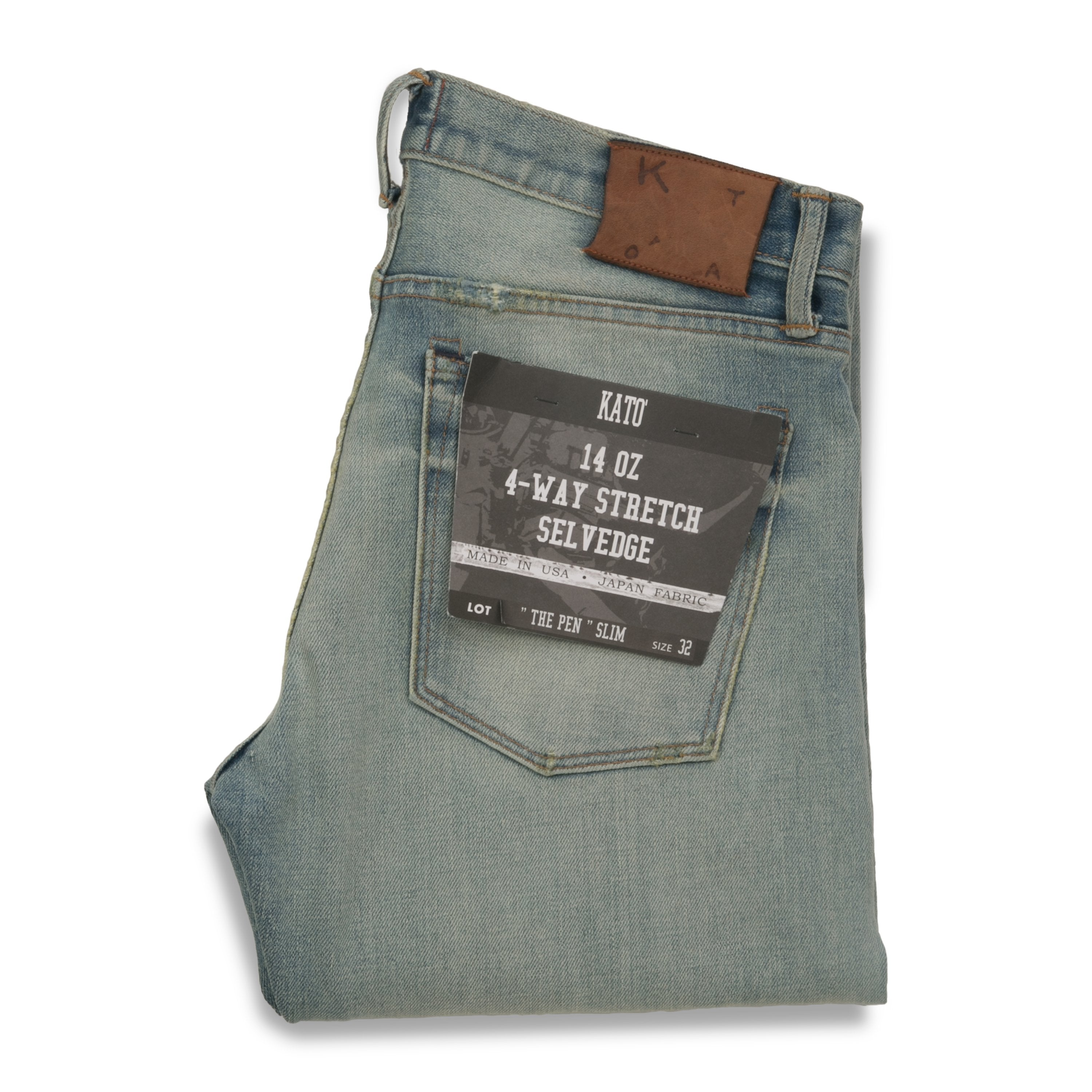 """THE PEN"" SLIM - PRETTY BLEACH 14OZ 4-WAY STRETCH SELVEDGE JEANS"