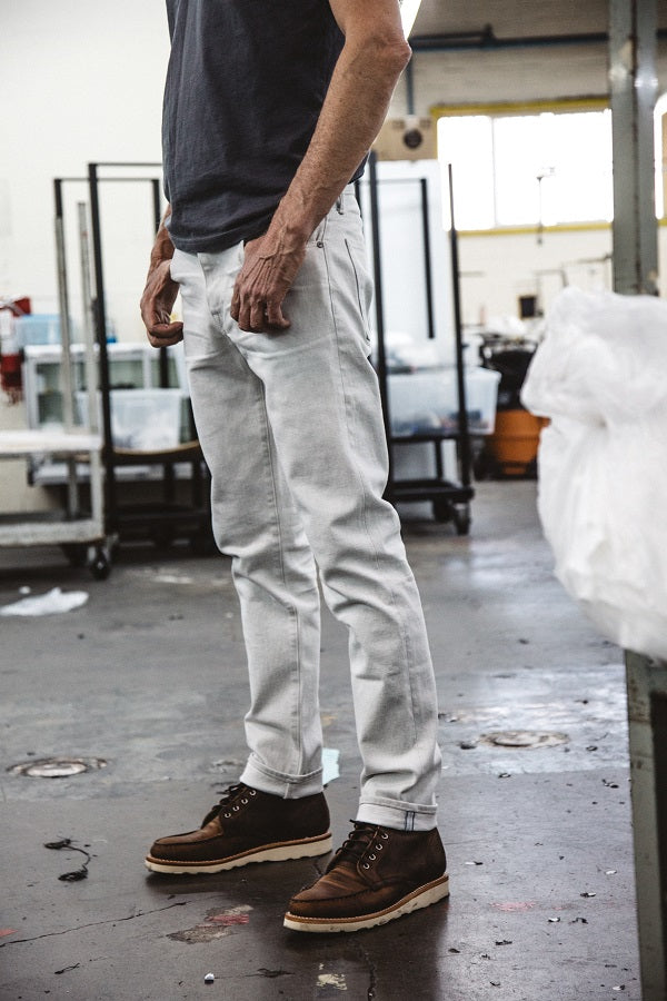 Model factory shot in KATO selvedge Denim