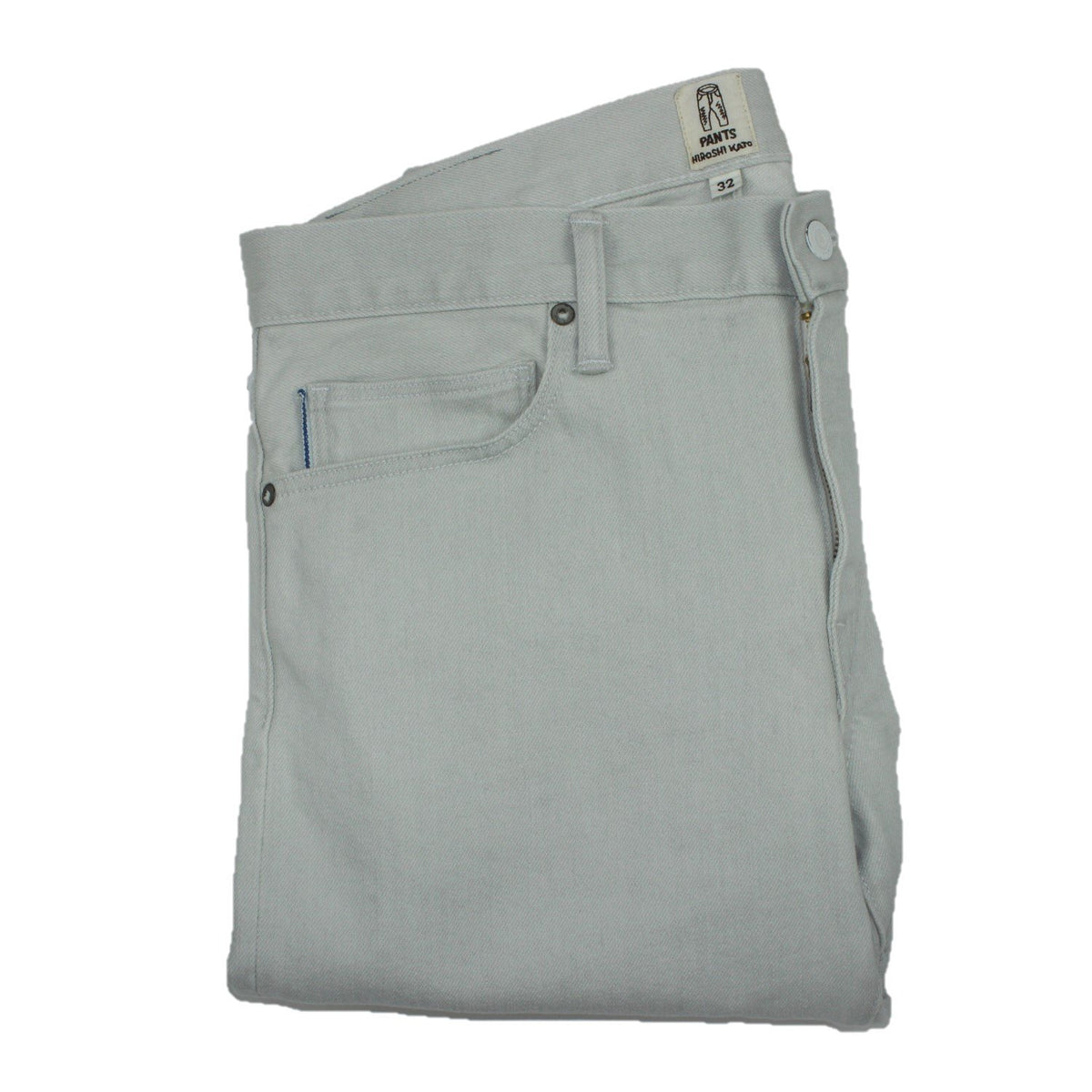 Folded front view of selvedge pants