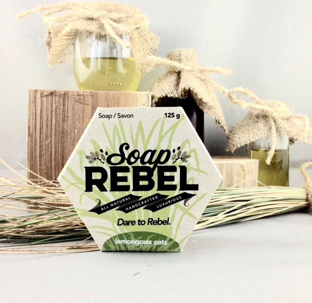 SoapRebel   Lemongrass Oats    Luxurious 125g Soap