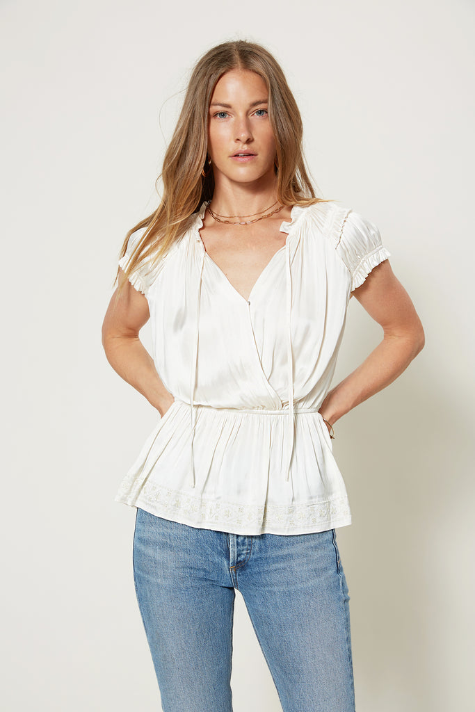 Embroidered Hem Smocked Top