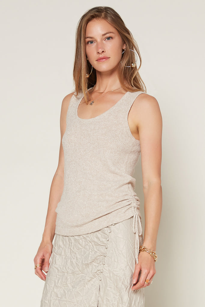 Sweater Tank with Ruched Side Hem
