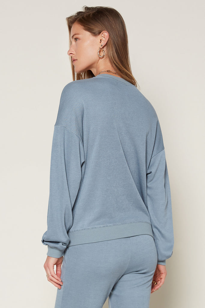 Crewneck Sweatshirt with Button Detail