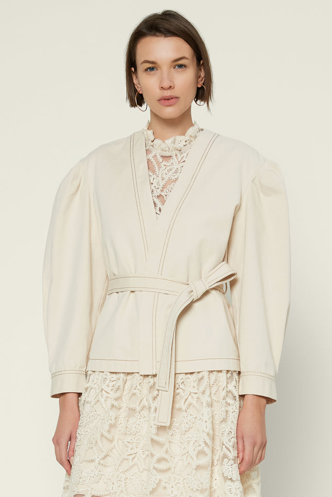 Puff Sleeve Shacket with Belt
