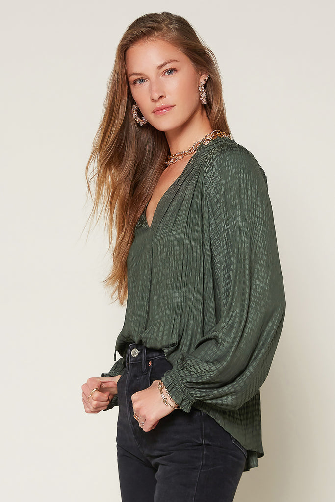 Pleated Jacquard Pattern Blouse