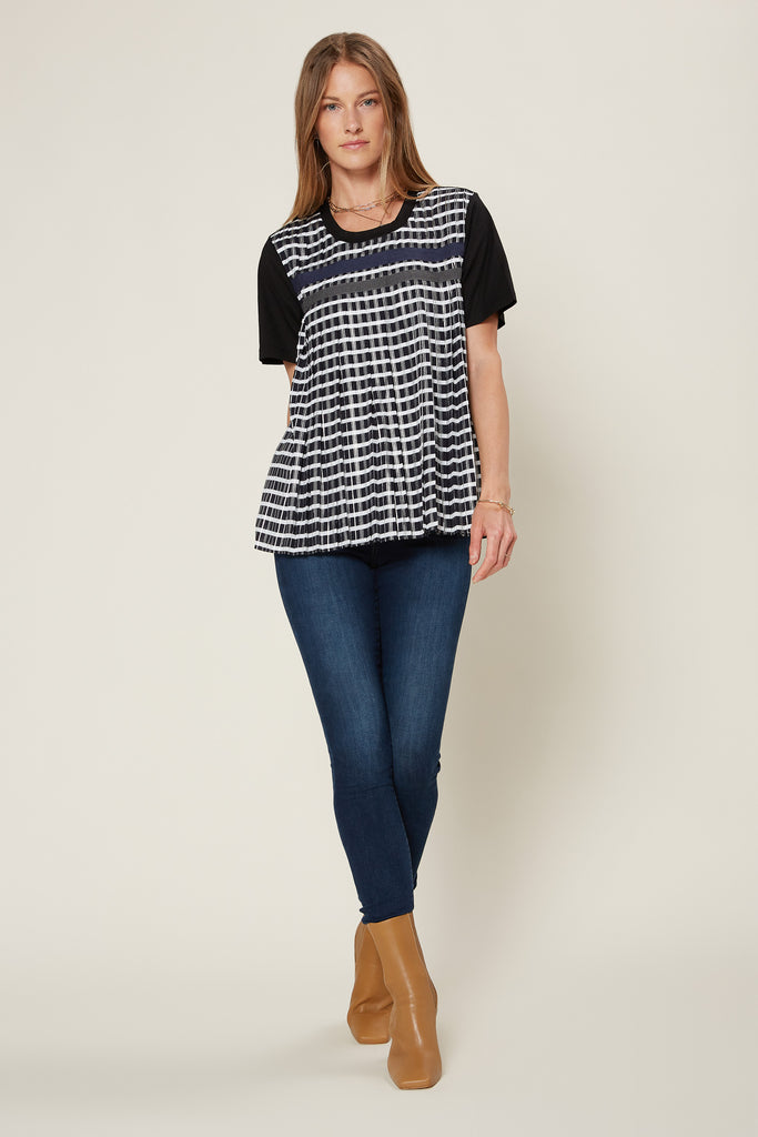 Front Pleated Contrast Top