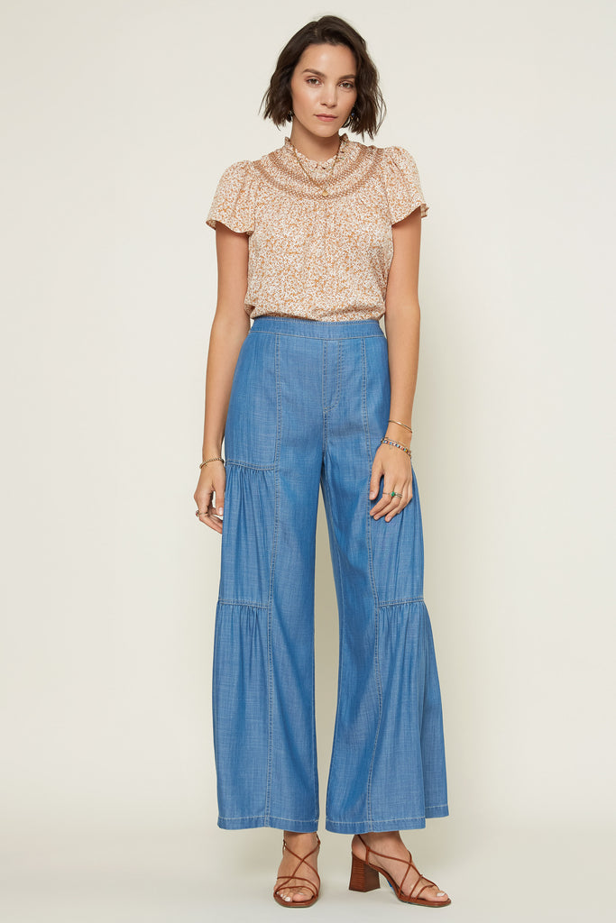 Tiered Wide Leg Chambray Pant