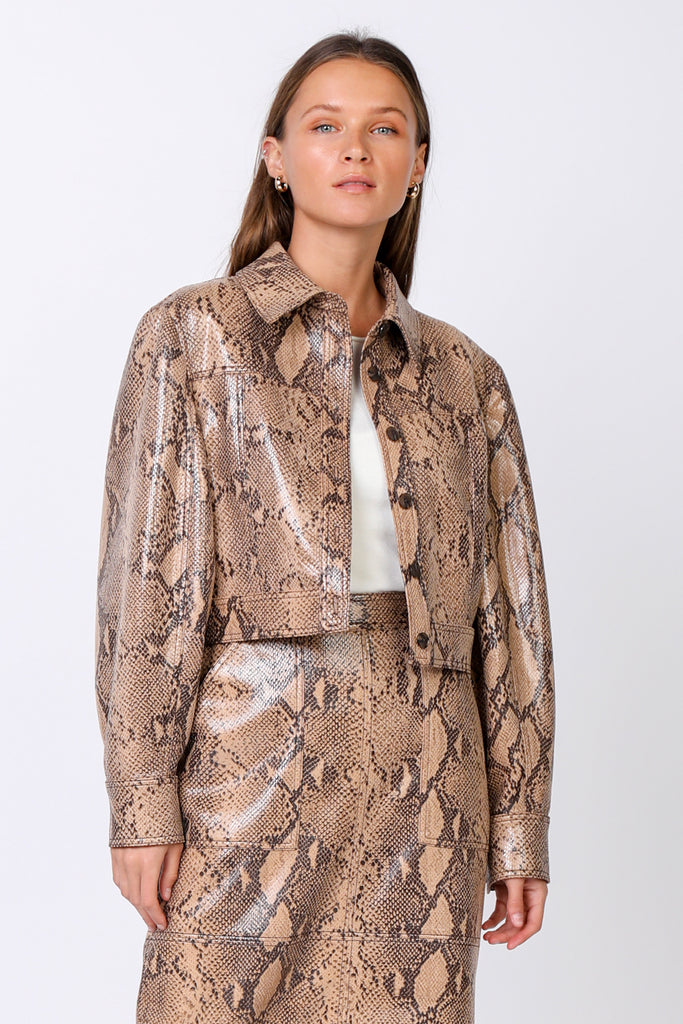 Cropped Faux Snakeskin Jacket