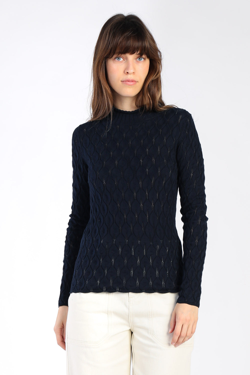 Geometric Mock Neck Sweater