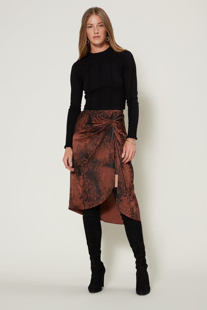Shadow Tie Dye Ruched Midi Skirt