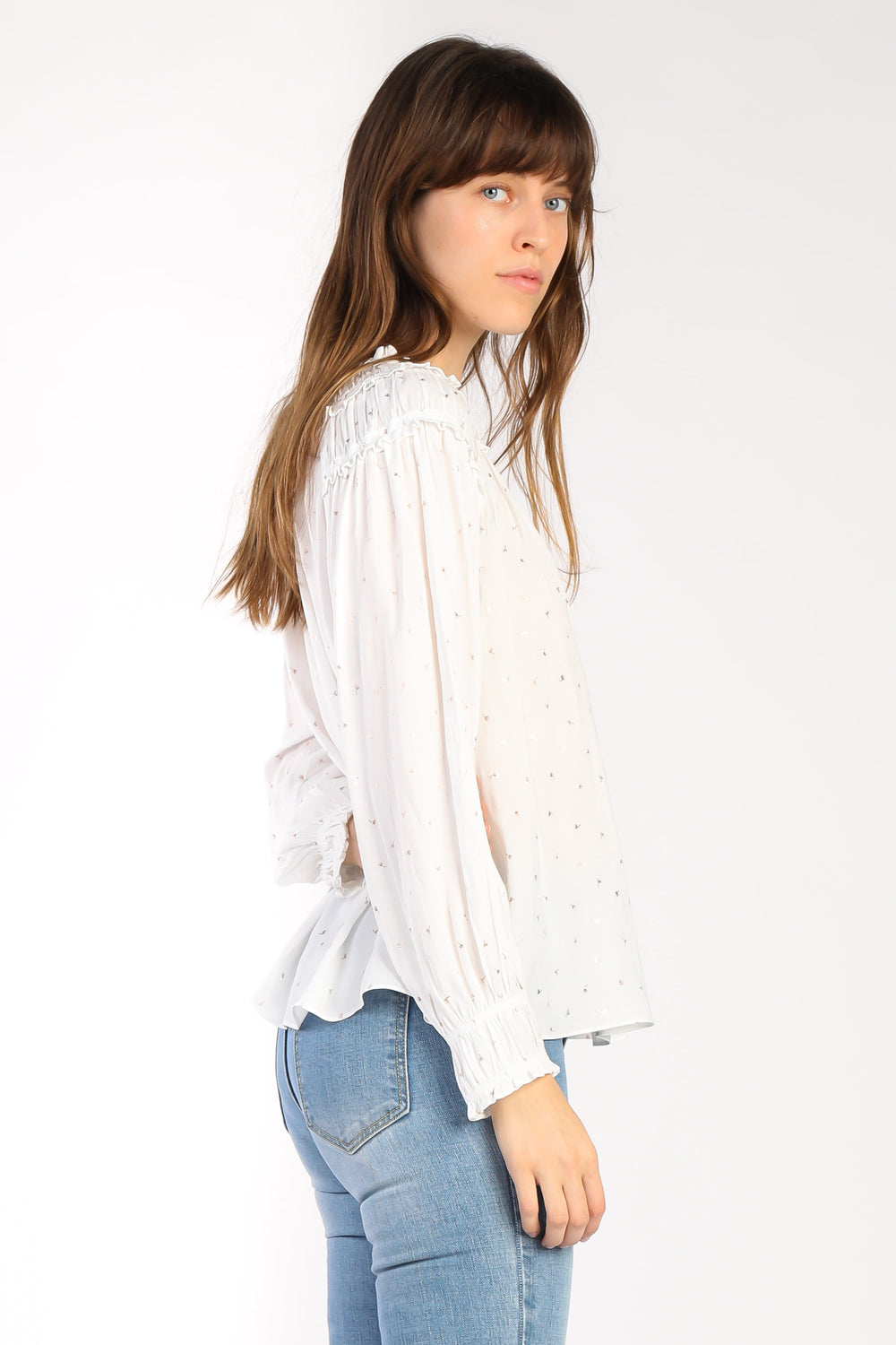 Metallic Flower Print Blouse